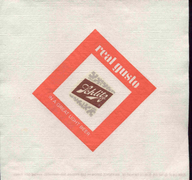 SCHLITZ BEER napkin / vintage brew advertising