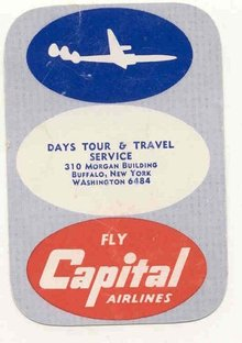CAPITAL AIRLINES calendar card 1954