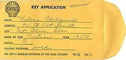 old vintage 1950 SHELL OIL KEY ENVELOPE