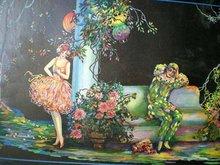 old vintage 1920s ART DECO HARLEQUIN print