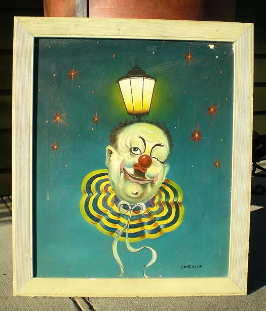old vintage 1930s CLOWN OIL PAINTING ~ LANGELLA