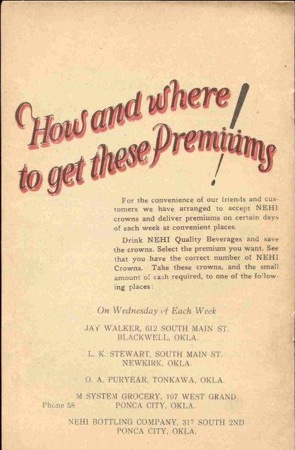 Nehi Soda Premium Booklet 1920s