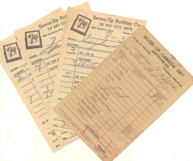 4 old vintage 1960s SEVEN UP soda receipts  7up