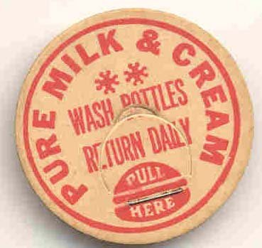 old vintage PURE MILK CREAM milk cap