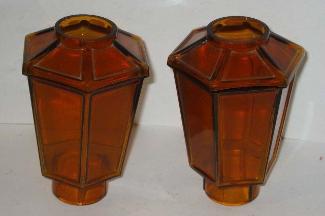 Amber Glass Lantern Holders