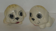 old vintage JAPAN SAD DOG SALT PEPPER shakers
