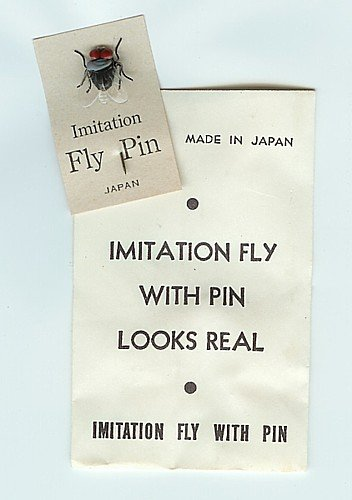 old vintage 1950s IMITIATION FLY PIN  on card