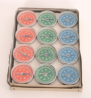 36 old vintage TOY COMPASSES in store display
