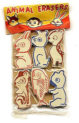 6 old vintage ANIMAL ERASERS in original pack