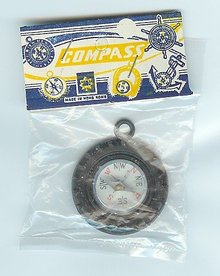 1960s old vintage TIRE COMPASS in original pack