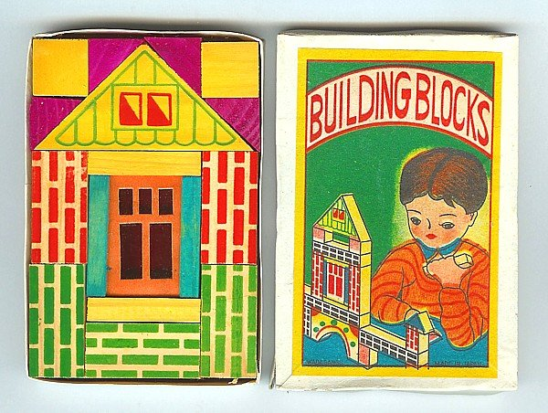 old vintage 1930s MINI BUILDING BLOCKS TOY