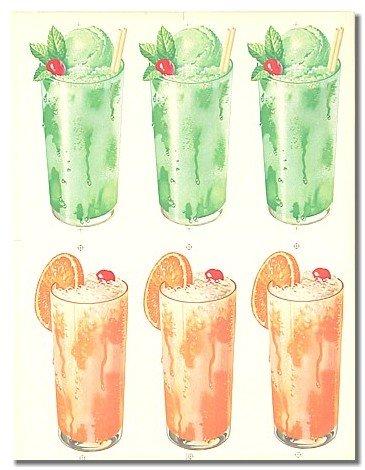 vintage MINT FLOATS ORANGE DRINK ICE CREAM SIGN