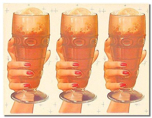 old vintage MALTS IN GLASS soda sign poster