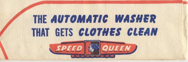 old vintage SPEED QUEEN WASHING MACHINE paper ad hat