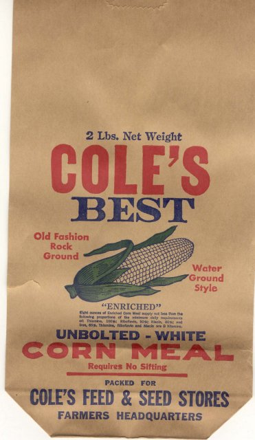 Cole's Corn Meal Bags