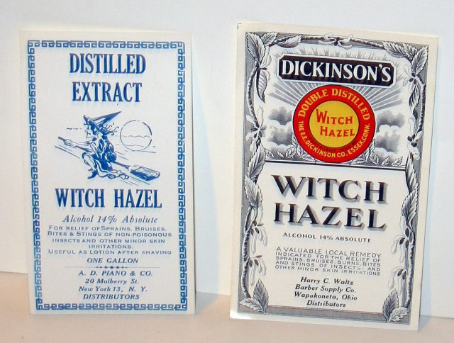 2 old vintage WITCH HAZEL Halloween Labels