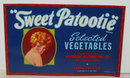 old vintage 1930s SWEET PATOOTIE FLAPPER VEGETABLE label