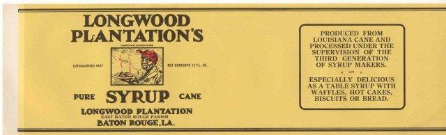 old vintage 1940s LONGWOOD PLANTATION MAMMY label