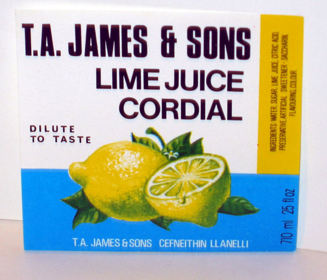 old vintage T.A. JAMES & SONS LIME JUICE CORDIAL LABEL