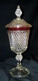 Ruby Flash Point Diamond Cut Candy Compote Dish