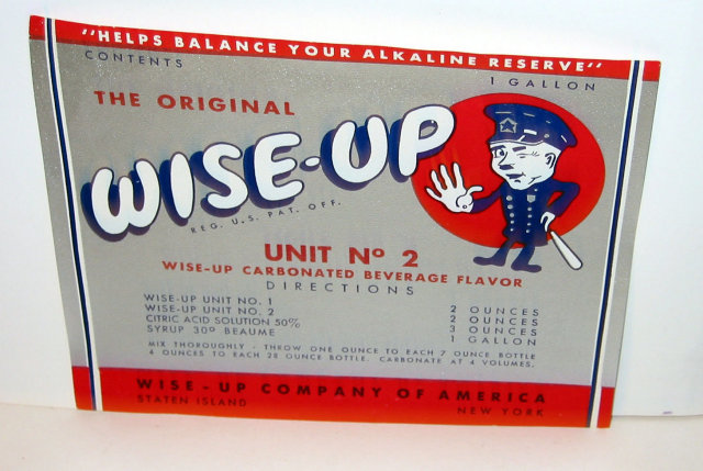 Wise-Up soda Label 1940s - Owl