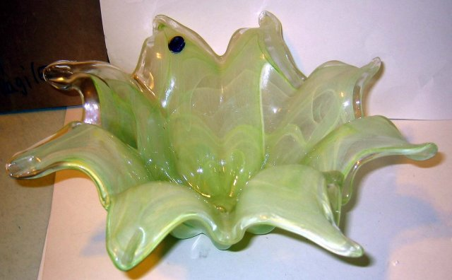 Murano Light Green Glass Art Bowl Flower