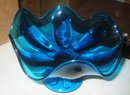 Blue Glass Swirl Candy Dish