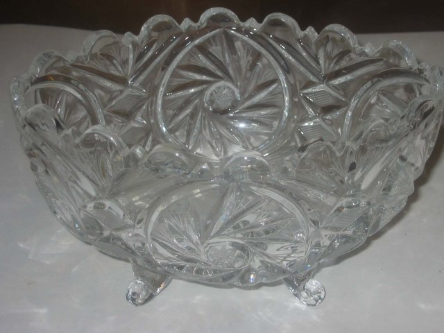 Glass Footed Faceted Candy Bowl