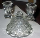 2 old vintage Glass Faceted Candlestick Holders
