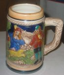 Wooded Scene Glazed Beer Stein