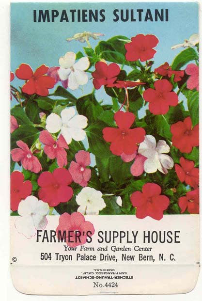 old vintage 1980 IMPATIENTS FLOWER seed pack