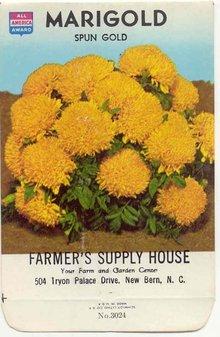 old vintage 1975 SPUN GOLD MARIGOLD FLOWER seed pack