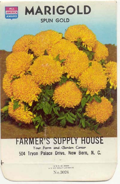 old vintage 1975 SPUN GOLD MARIGOLD FLOWER seed pack