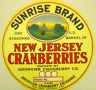 Cranberry Barrel Label - Sunrise 1920s