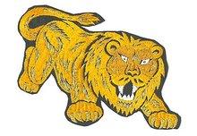 old vintage CARNIVAL LION gold patch ~ large