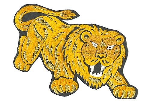 old vintage CARNIVAL LION gold patch ~ large