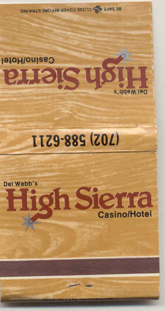 vintage HIGH SIERRA CASINO matchbook