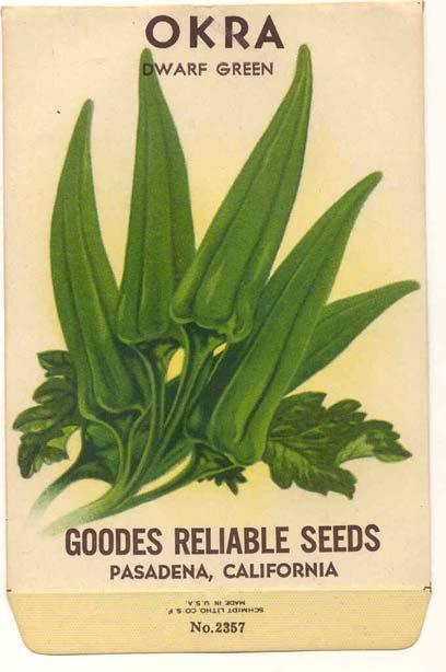 old vintage 1930s OKRA GUMBO seed pack ~ Pasadena California
