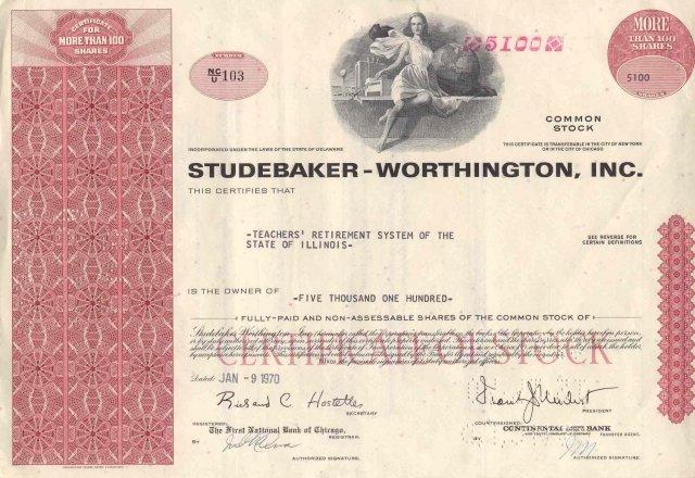 old vintage 1970 STUDEBAKER WORTHINGTON Teachers Retirement Stock Certificate