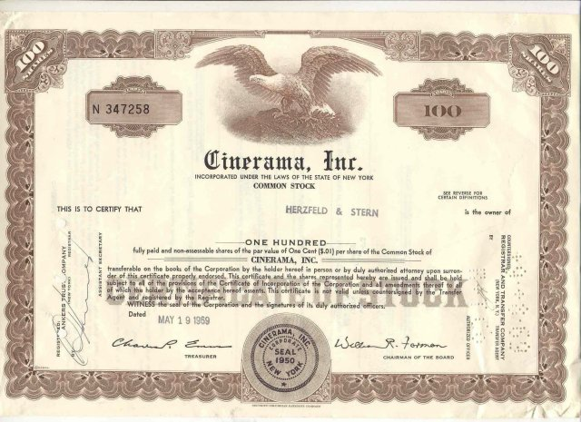 old vintage 1969 CINERAMA INC Eagle Stock Certificate