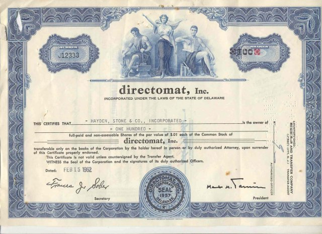 old vintage 1962 DIRECTOMAT INC Stock Certificate