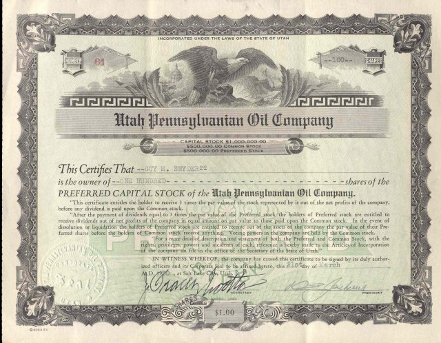 old vintage 1933 UTAH PENNSYLVANIA OIL Stock Certificate