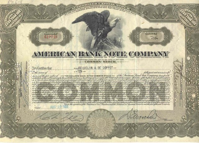 old vintage 1932 AMERICAN BANK NOTE stock certificate