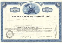 old vintage 1968 BEAVER CREEK Stock Certificate