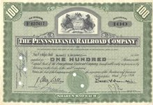 old vintage 1954 PENNSYLVANIA RAILROAD stock certificate