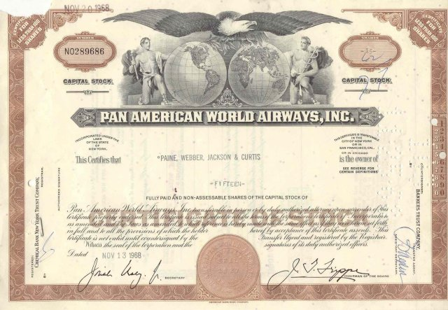 old vintage 1968 PAN AMERICAN WORLD AIRWAYS Stock Certificate