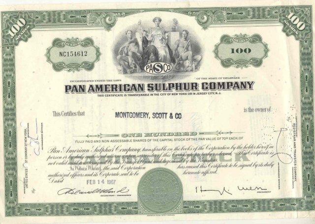 1967 PAN AMERICAN scott Stock Certificate