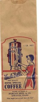 old vintage 1950s UNCLE BILL'S HOTEL COFFEE bag