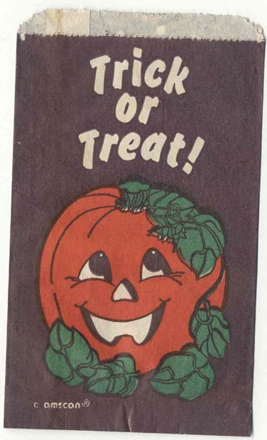 old vintage 1960s PUMPKIN TRICK OR TREAT HALLOWEEN bag