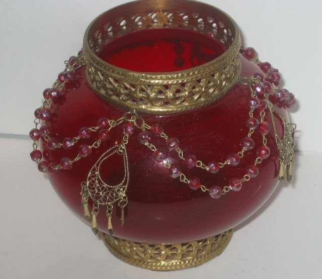 old vintage 1950s Red Glass Vase Globe Beads